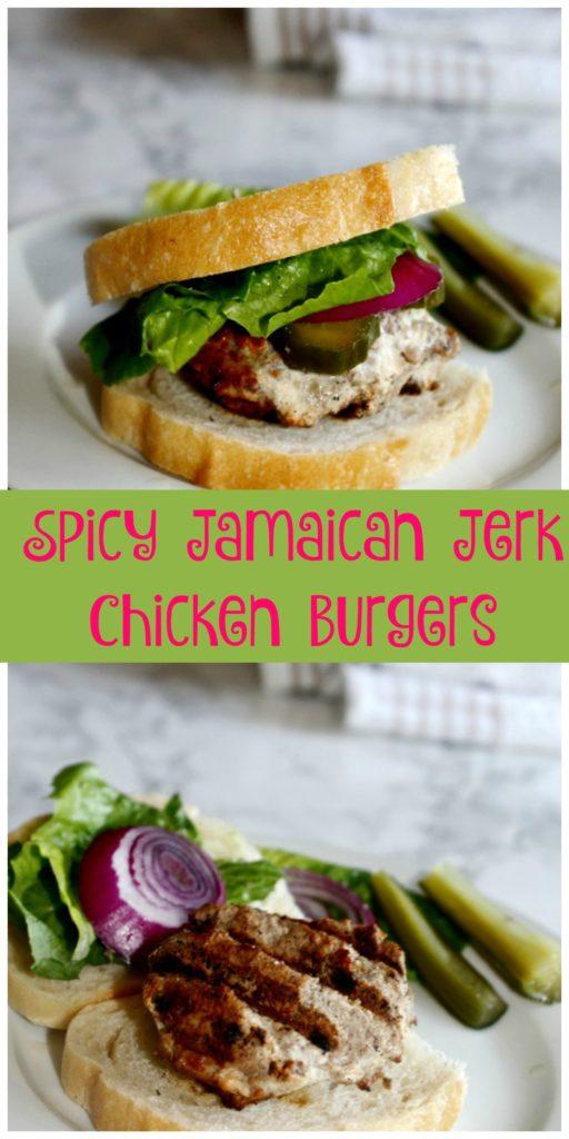 Spicy Jamaican Jerk Chicken Burgers made with ground chicken breast, and homemade jerk seasoning