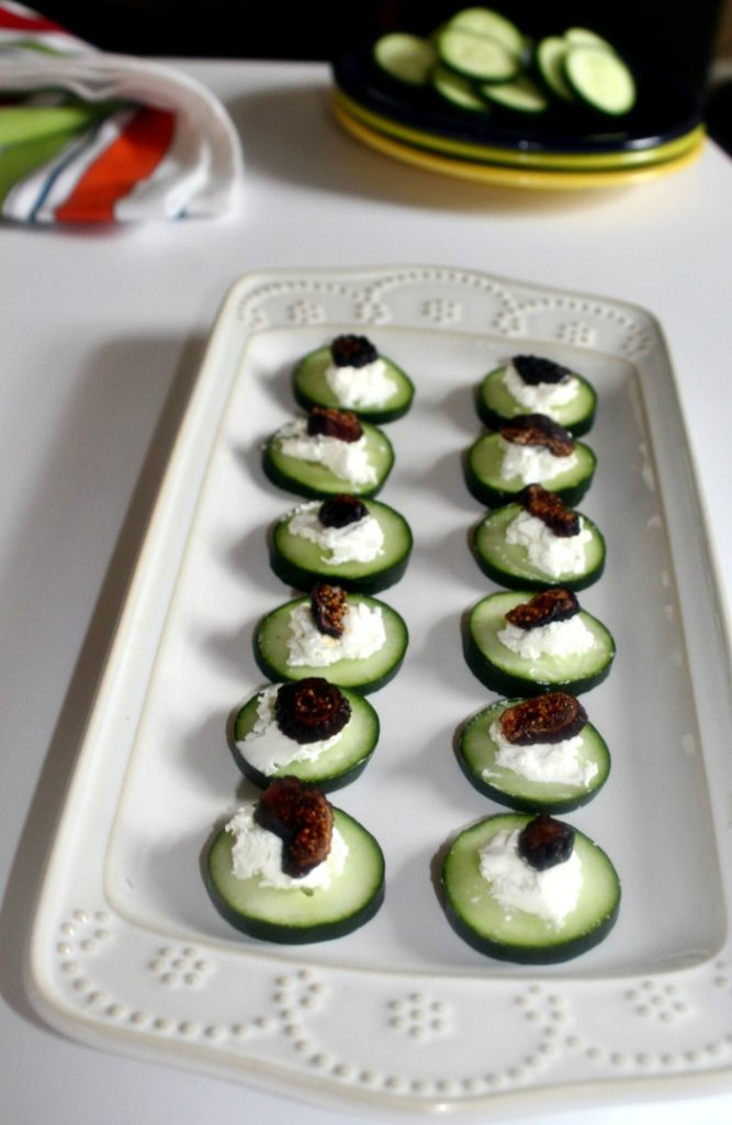 cucumbers with goat cheese appetizer recipe healthy and low carb Simpleandsavory.com