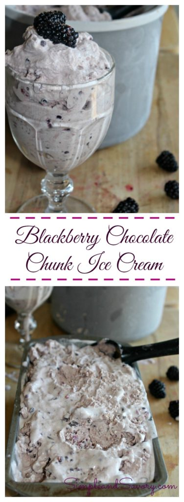 Balckberry Chocolate Chunk Ice Cream #SundaySupper Simple and Savory.com