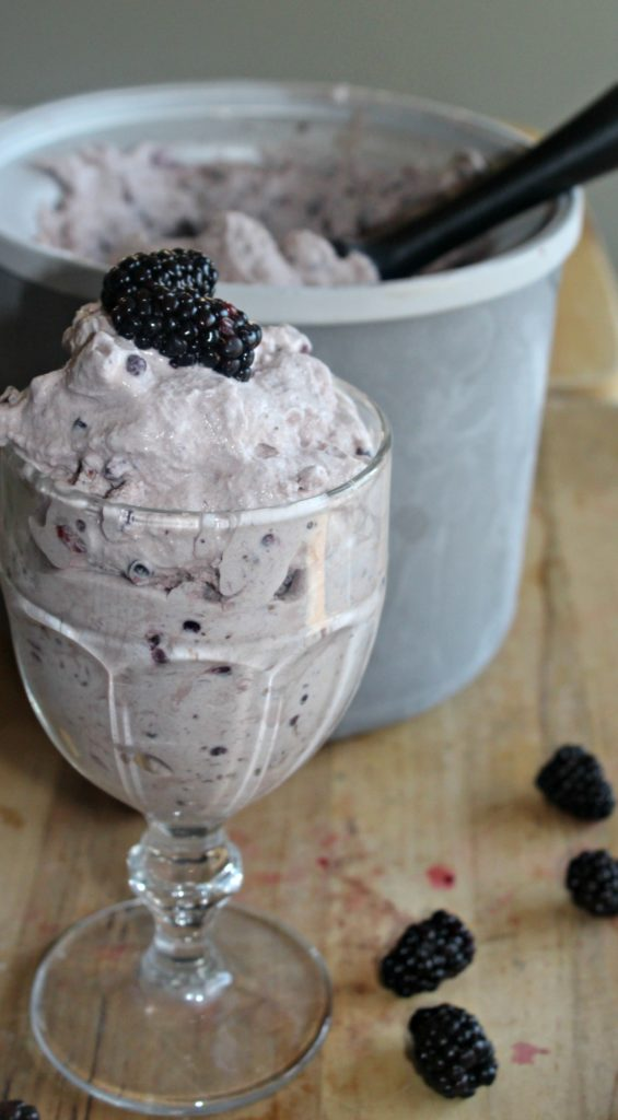 Blackberry ice cream with chocolate chunks Simple and savory