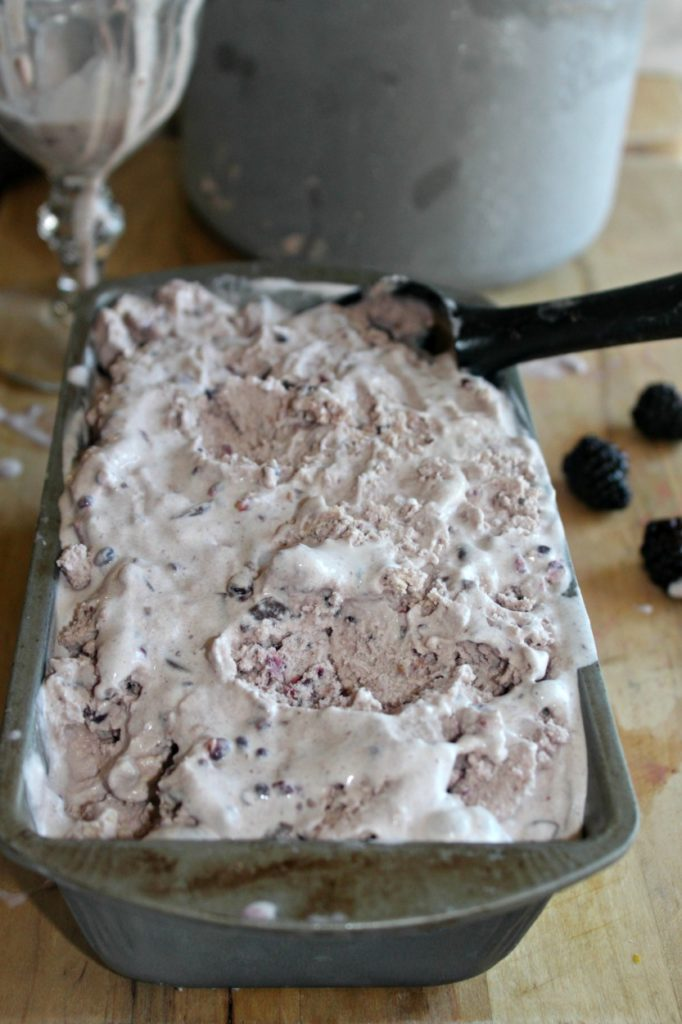Homemade Black berry chocolate chunk ice cream simpleandsavory.com