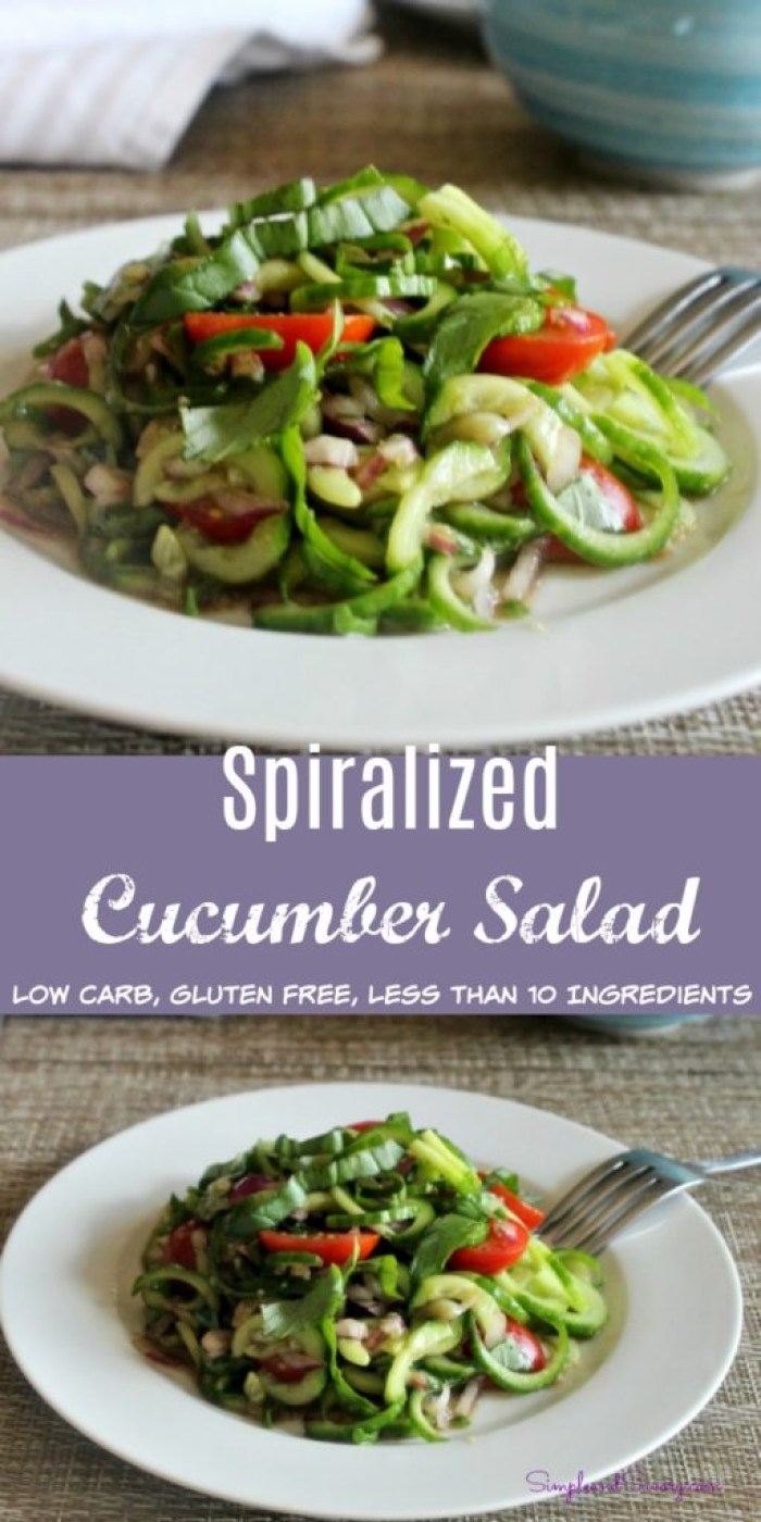 Spiralized cucumber salad low carb, gluten free, less than 10 ingredients