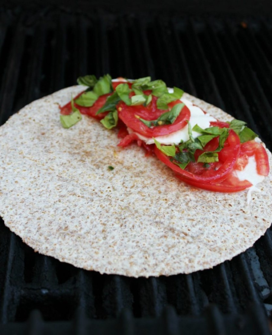Caprese Quesadillas on the grill