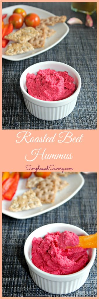 Roasted Beet Hummus Made with Roasted beets and chickpeas