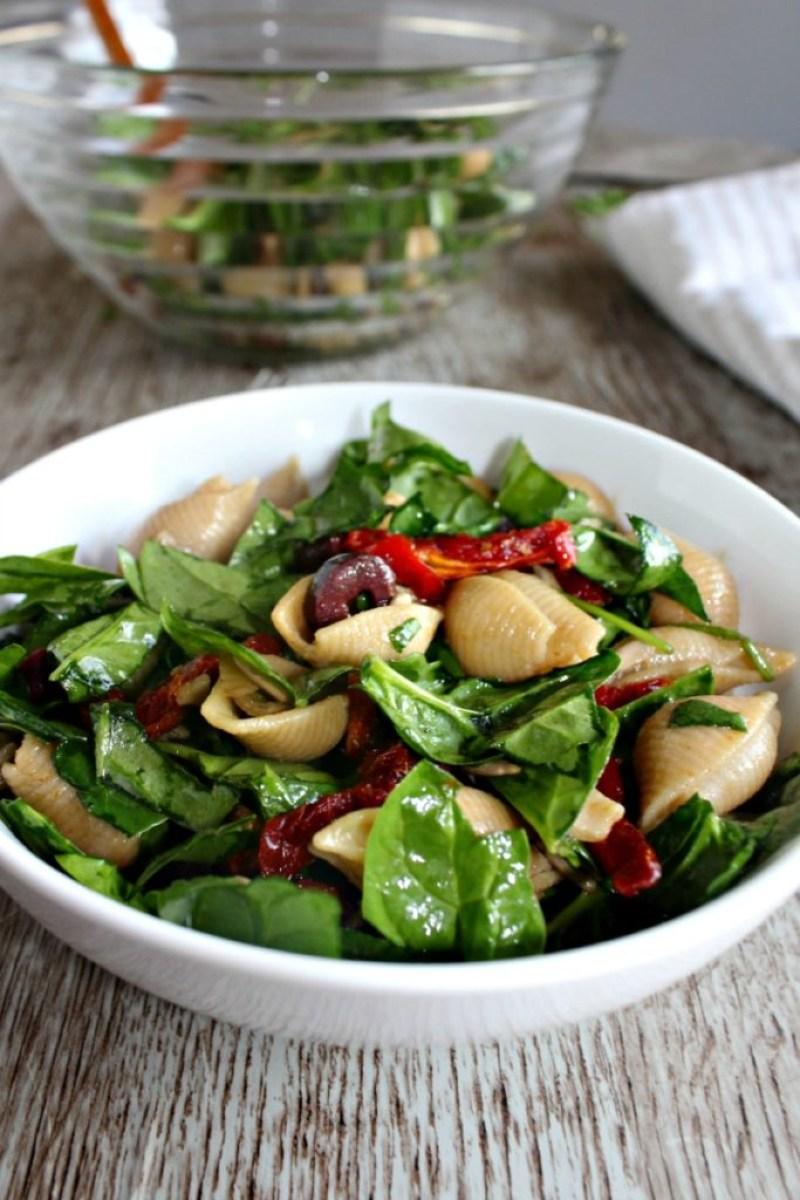 Spinach Pasta Salad simple savory.com