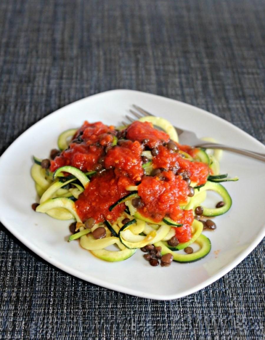 Zucchini Noodles with Lentils Simpleandsavory.com
