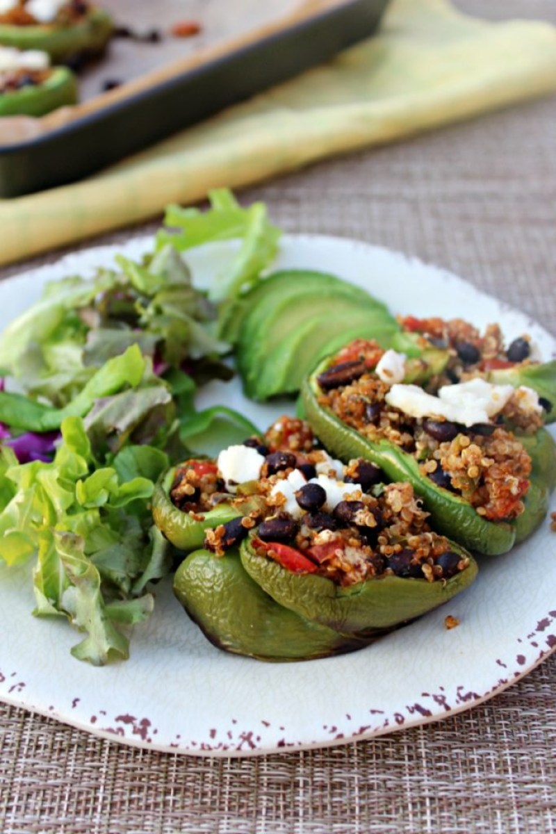 Vegetarian Stuffed peppers made with quinoa black beans SimpleandSavory.com