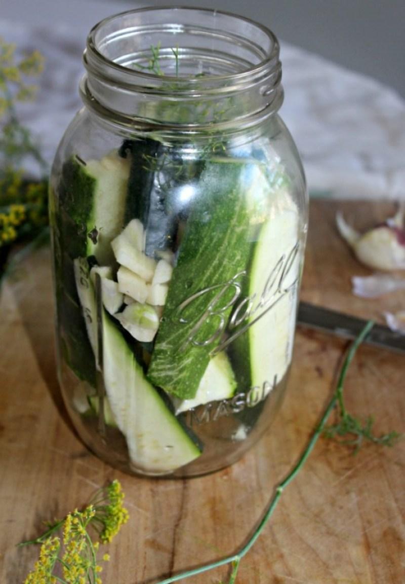 zucchini spears in a jar