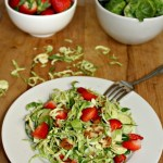 Shaved Brussels Sprouts Salad with strawberries Vegan Vegetarian Simpleandsavory.com