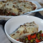 Shepherd's pie made with lean ground beef and vegetables a comforting dinner