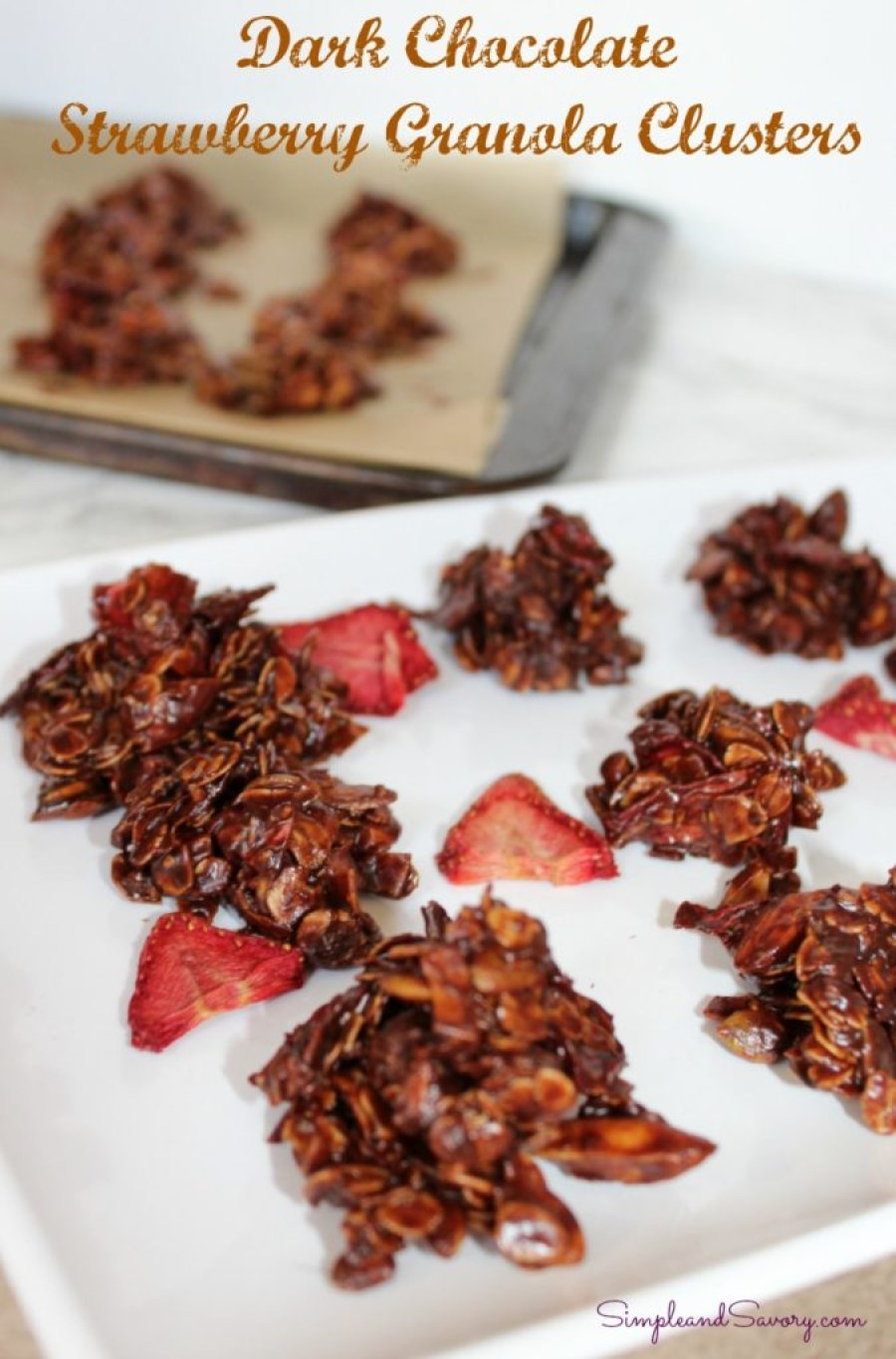Dark Chocolate Strawberry Granola Bites