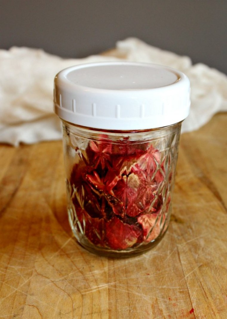 dehydrated florida strawberries in a jar for conditioning