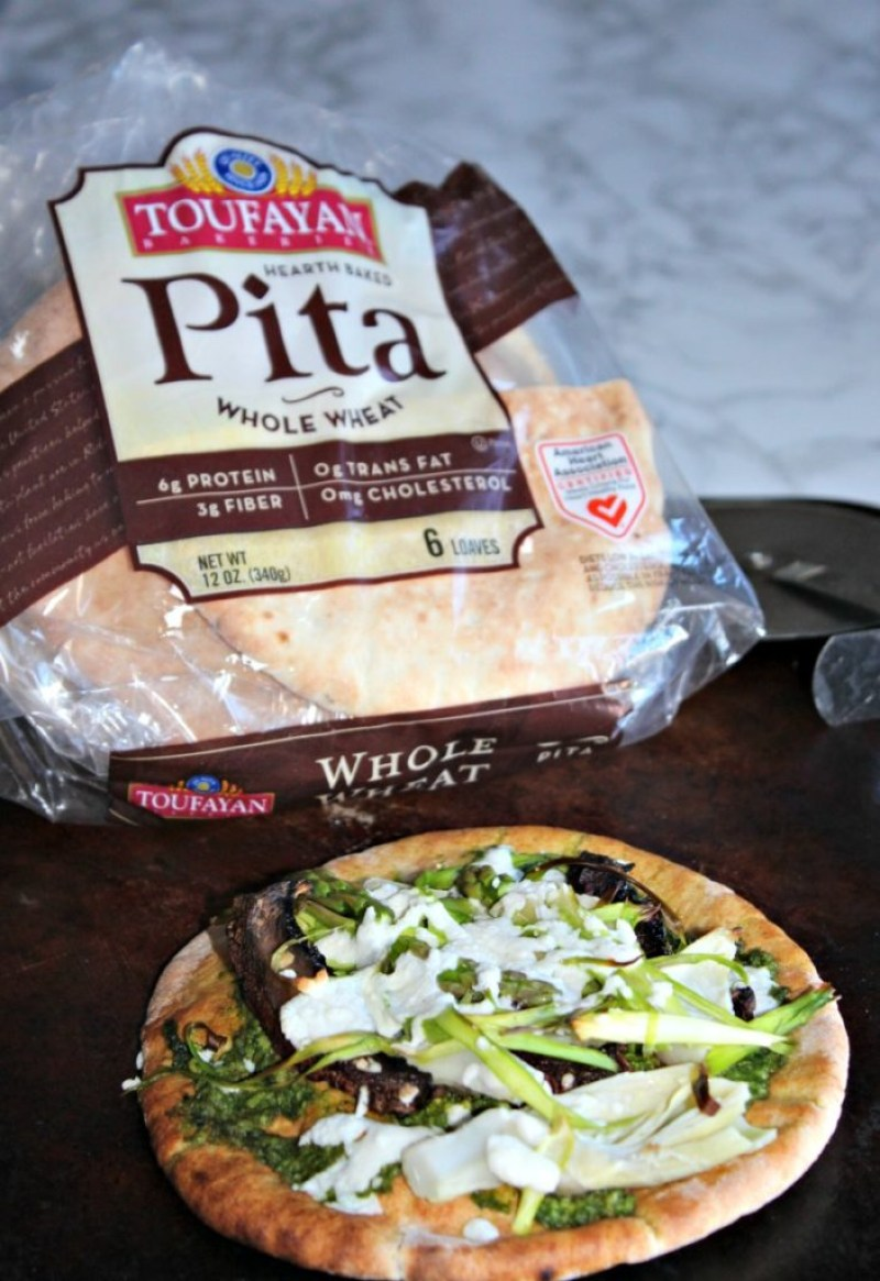 sprig veggie pizza made with toufayan pita bread Simpleandsavory