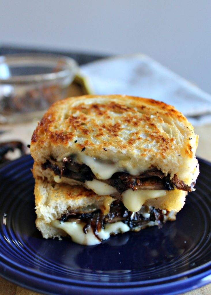 grilled brie cheese with smoky portobellos and caramelized onions