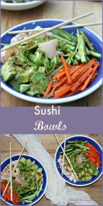 Sushi Bowls made with Shrimp and vegetables gluten free simpleandsavory.com
