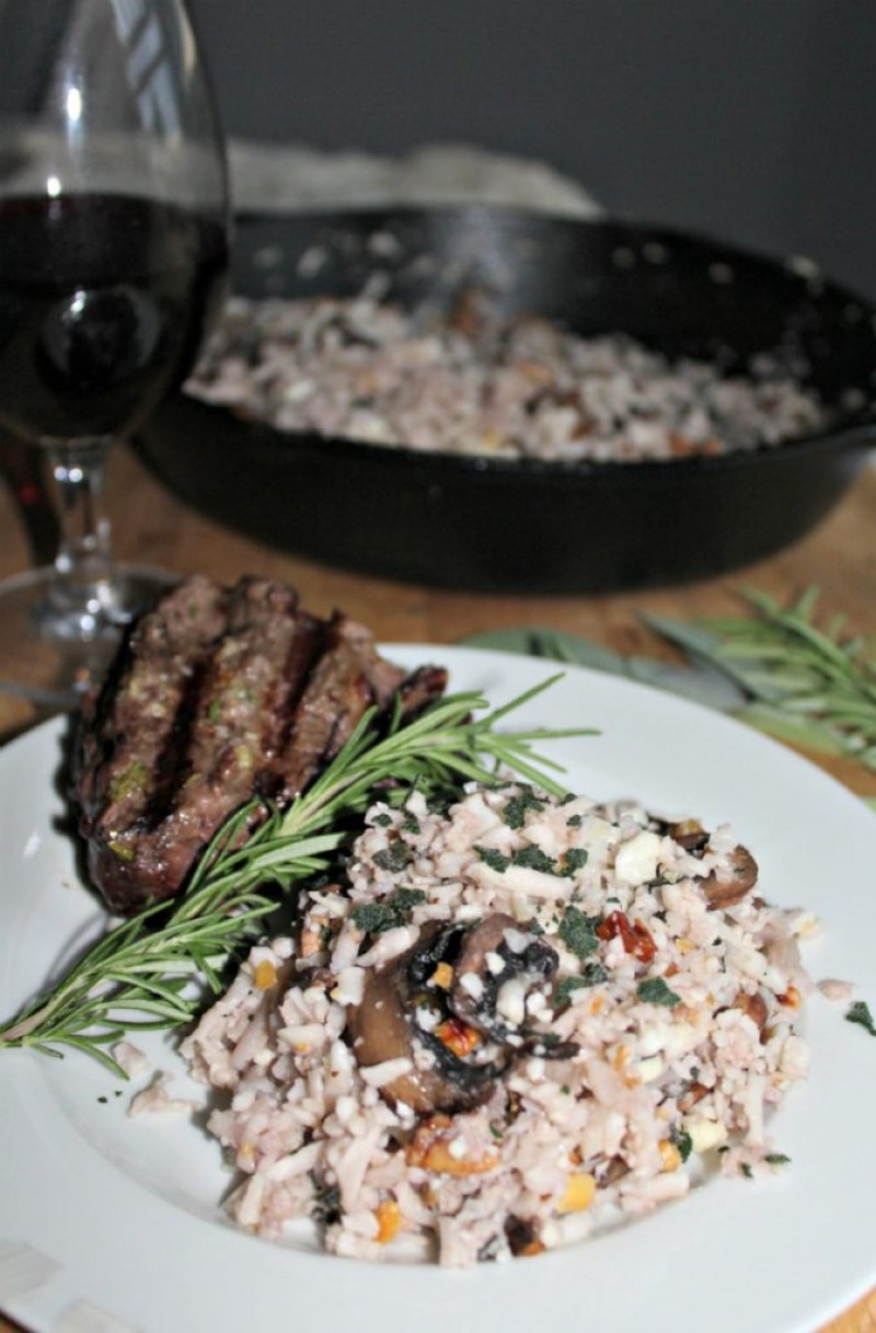 Cauliflower Risotto with mushrooms Sage and walnuts gluten free low carb simpleandsavory.com