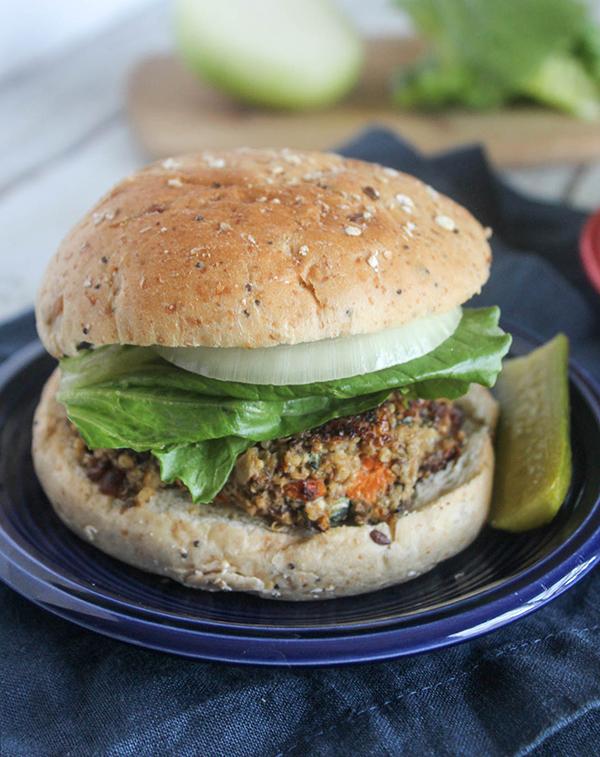 mushroom veggie burger on a roll