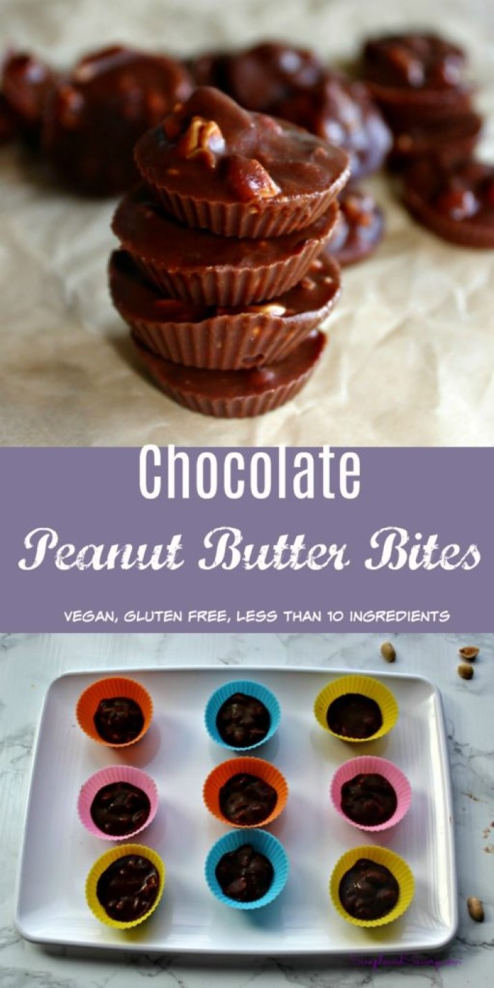 Chocolate peanut butter bites gluten free vegan less than 10 ingredients simpleandsavory.com