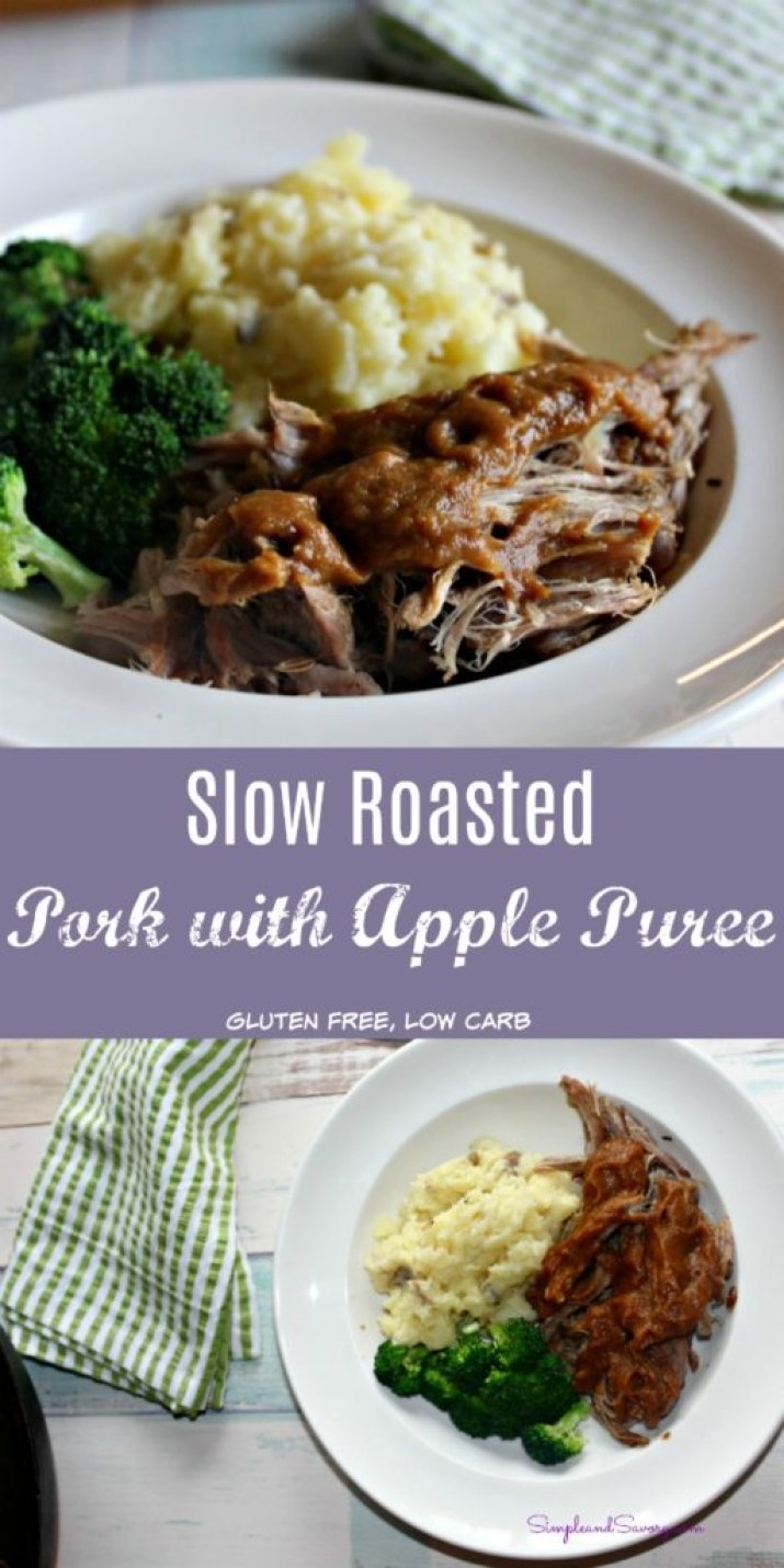slow roasted pork with apple puree gluten free, low carb simpleandsavory.com