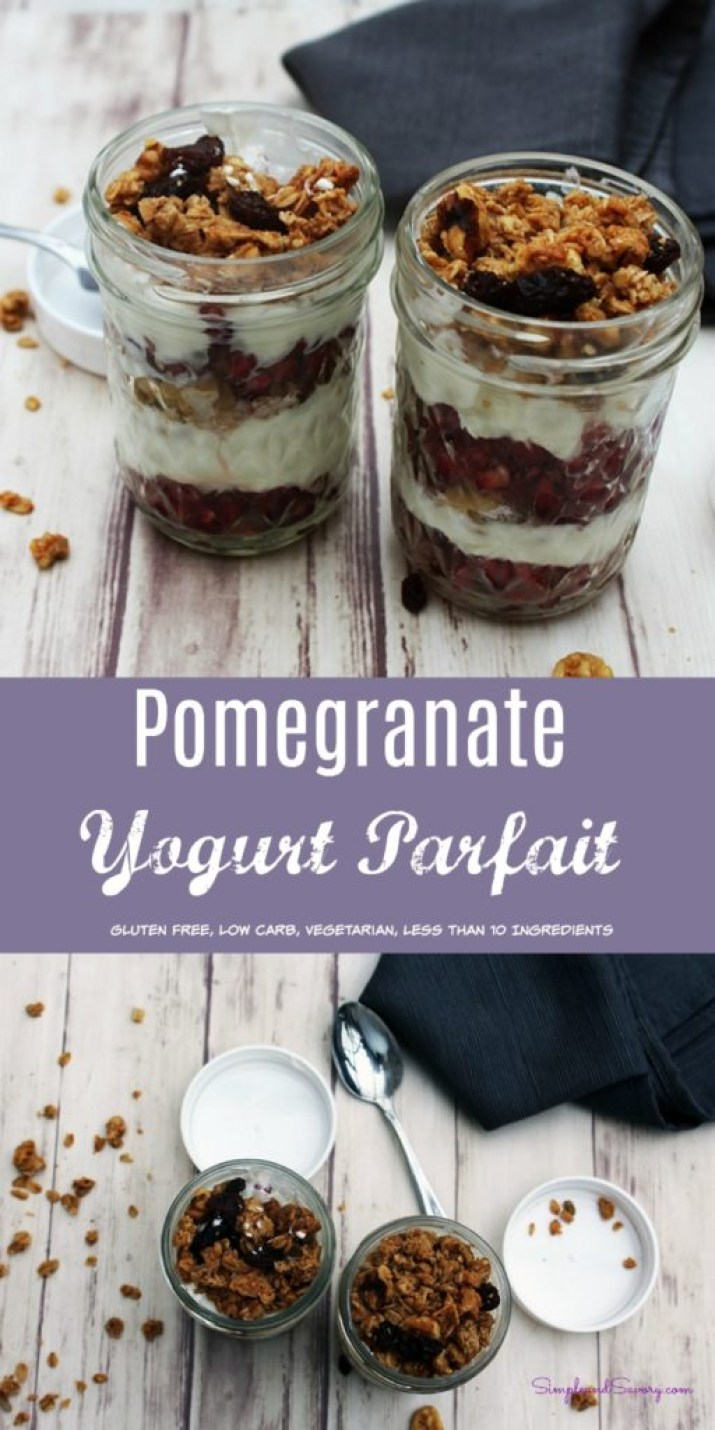 Pomegranate Yogurt Parfait gluten free, vegetarian, breakfast