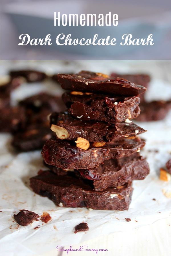 Cranberry Almond Dark Chocolate Bark - Simple And Savory