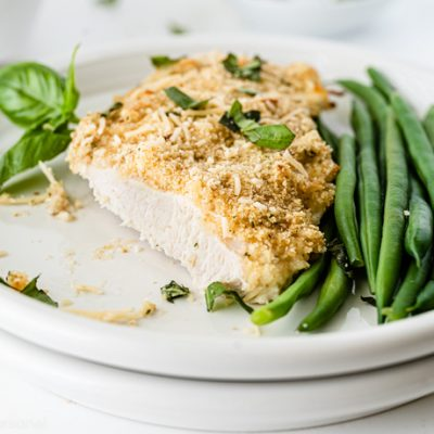 closeup showing interior of cooked Parmesan Crusted Chicken