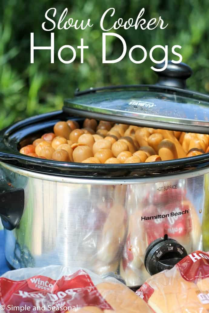 Not everyone wants to be stuck behind a grill during the picnic! If you have to cook hot dogs for a crowd, there's an easy way to do it-in the slow cooker! Crockpot Hot Dogs are a thing, and they are delicious! via @nmburk