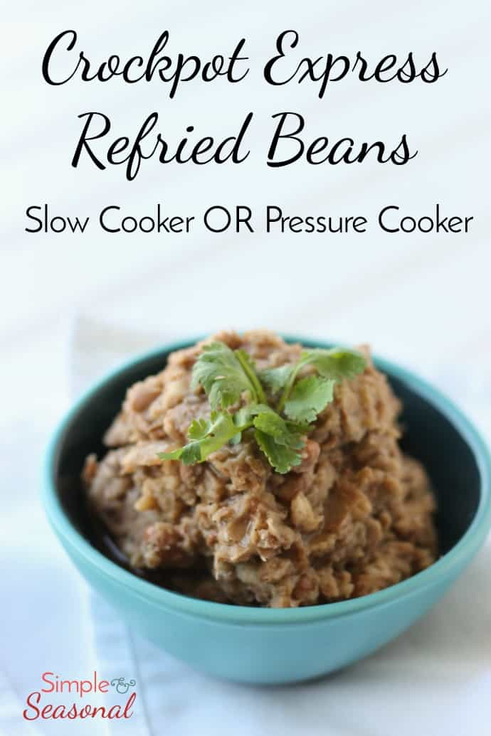 """These Crockpot Refried Beans are SO good (even if they aren't actually """"re-fried."""" Make them in the slow cooker or the pressure cooker and the whole house smells amazing! #CrockpotExpress #PressureCooker #InstantPot #Beans via @nmburk"""