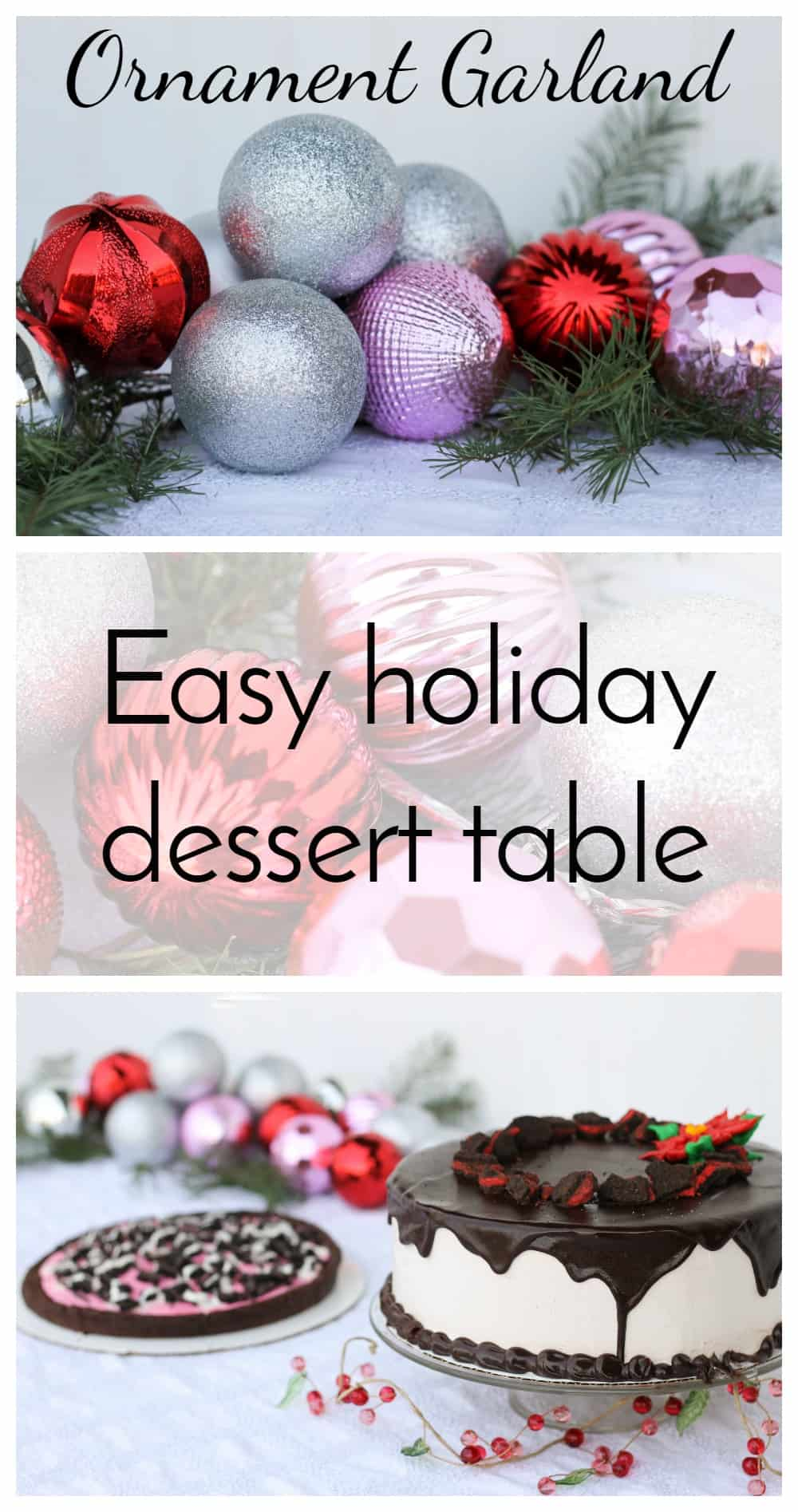 Grab some inexpensive ornaments and a little fresh greenery for a DIY Ornament Garland! What a fun way to add color to the party table!  via @nmburk