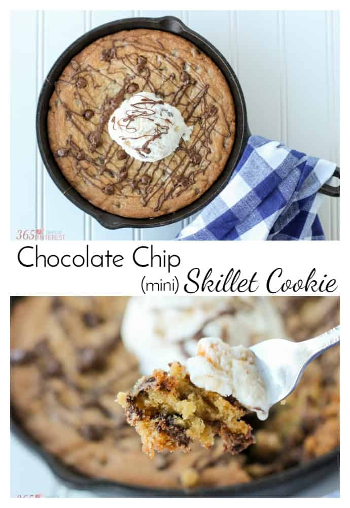 """Indulge in a little """"me time"""" with this decadent Chocolate Chip Skillet Cookie! Crispy on the edges, soft and chewy in the middle, it's the perfect sweet treat. via @nmburk"""