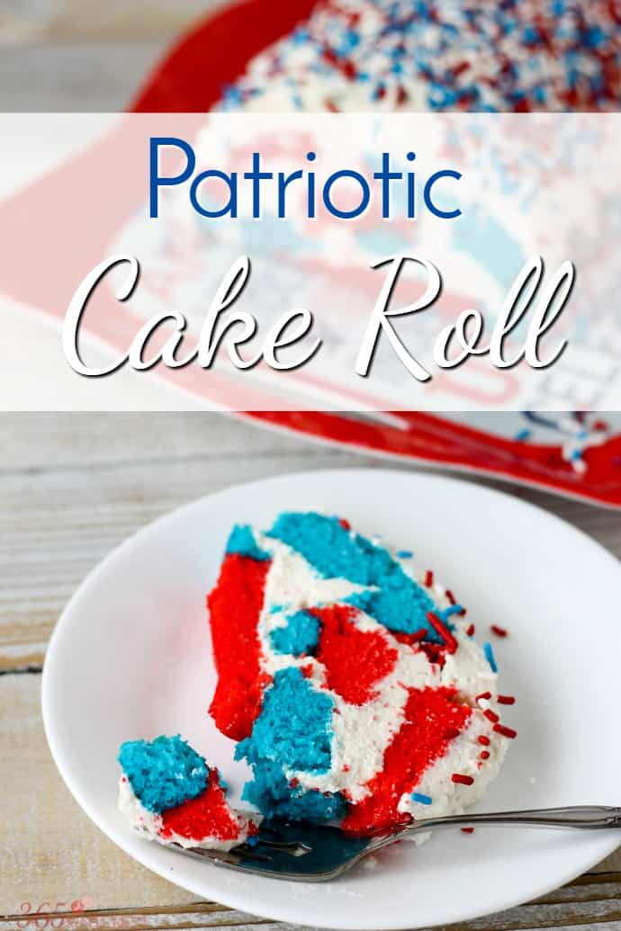 red, white and blue cake roll with sprinkles