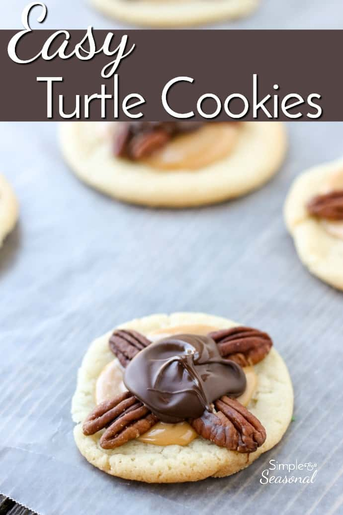 Just like their candy namesake, these Easy Turtle Cookies combine pecans, gooey caramel and chocolate to make a delicious treat that's perfect for cookie exchanges.