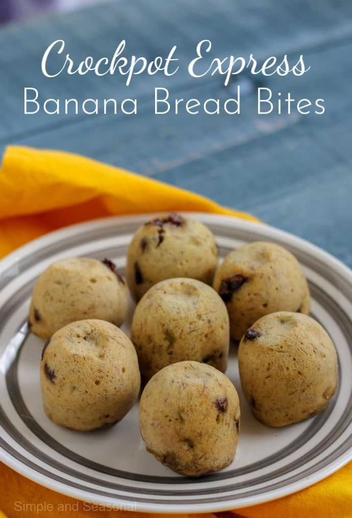 """Crockpot Express Banana Bread Bites are a perfect """"on the go"""" breakfast made right in the pressure cooker!#CrockpotExpress #CPE #PressureCookerRecipes via @nmburk"""