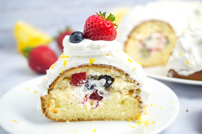 Enjoy the bright flavors of spring with this Berries and Cream Lemon Bundt Cake. It starts with a boxed cake mix, making it a quick and easy dessert.