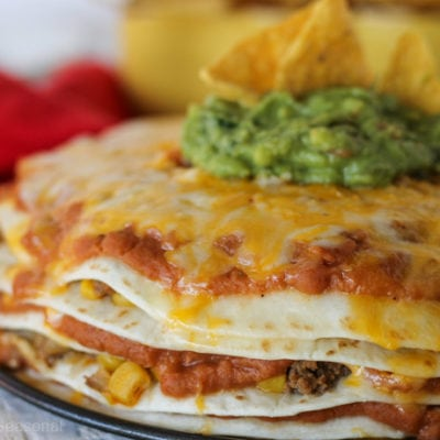 close up image of crcokpot express taco pie layers
