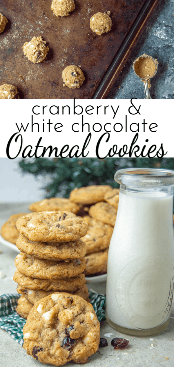 The combination of sweet white chocolate and tart cranberries makes these Cranberry White Chocolate Oatmeal Cookies the perfect treat! via @nmburk