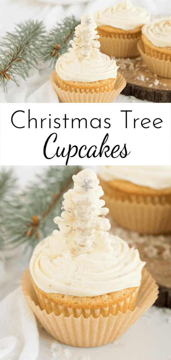An easy topper makes these Christmas Tree Cupcakes perfect for bringing to school or work parties. #Christmas #Cupcakes via @nmburk