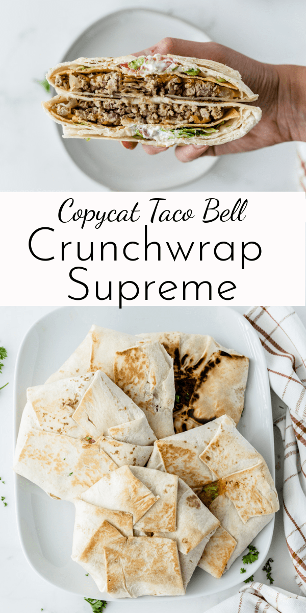 Skip the drive-thru line and make your own Copycat Crunchwrap Supreme at home! Layers of taco meat, cheese, fresh veggies, sauce and a crunchy shell make this a family favorite. via @nmburk