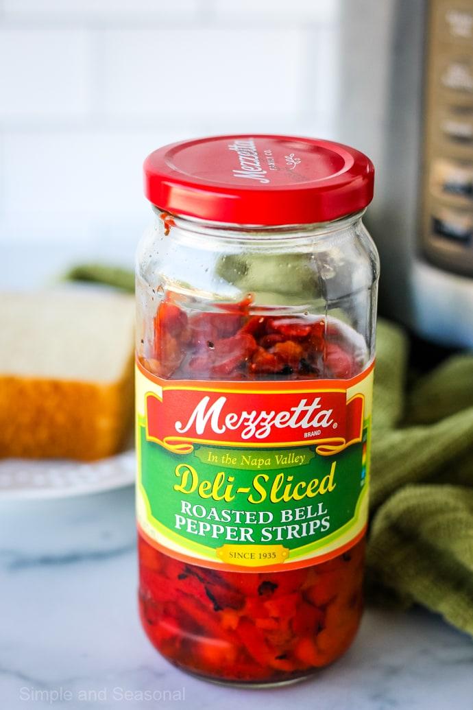jar of Mezzetta roasted red pepper strips