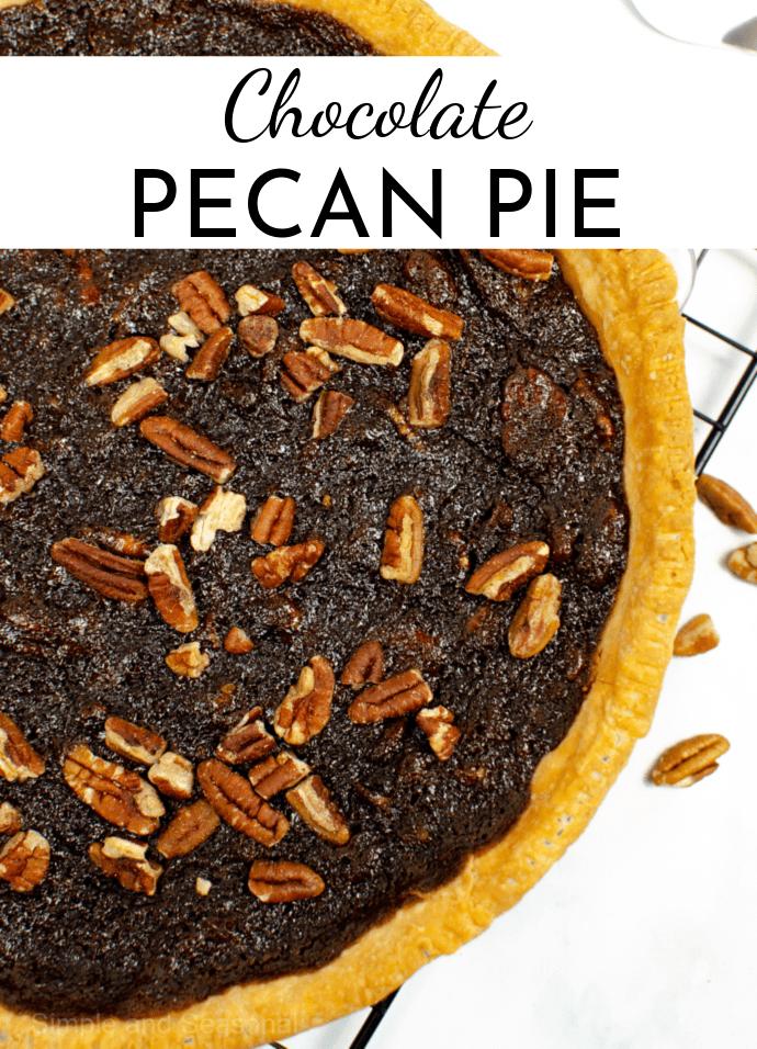 baked whole chocolate pecan pie