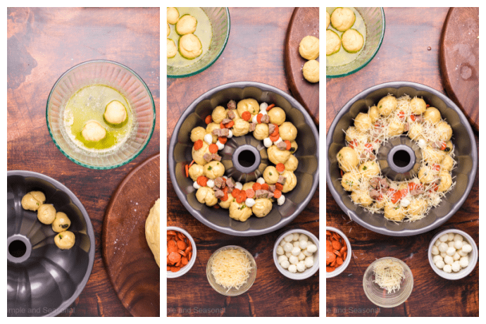 side by side collage image showing steps to roll dough in garlic butter, add pizza toppings and cover with cheese