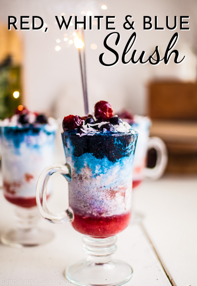 clear glass with layers of red, white and blue; text label reads Red, White and Blue Slush