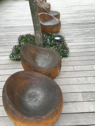 cramim spa pond area wooden seating