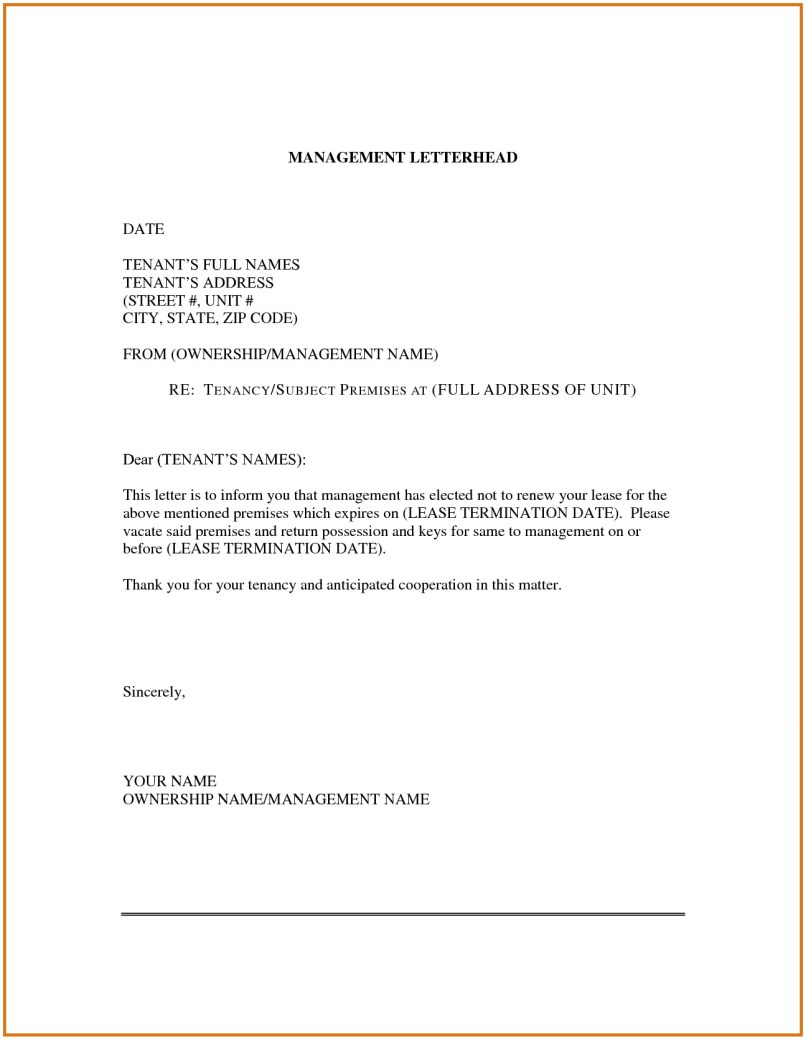 sample non renewal lease letter to tenant