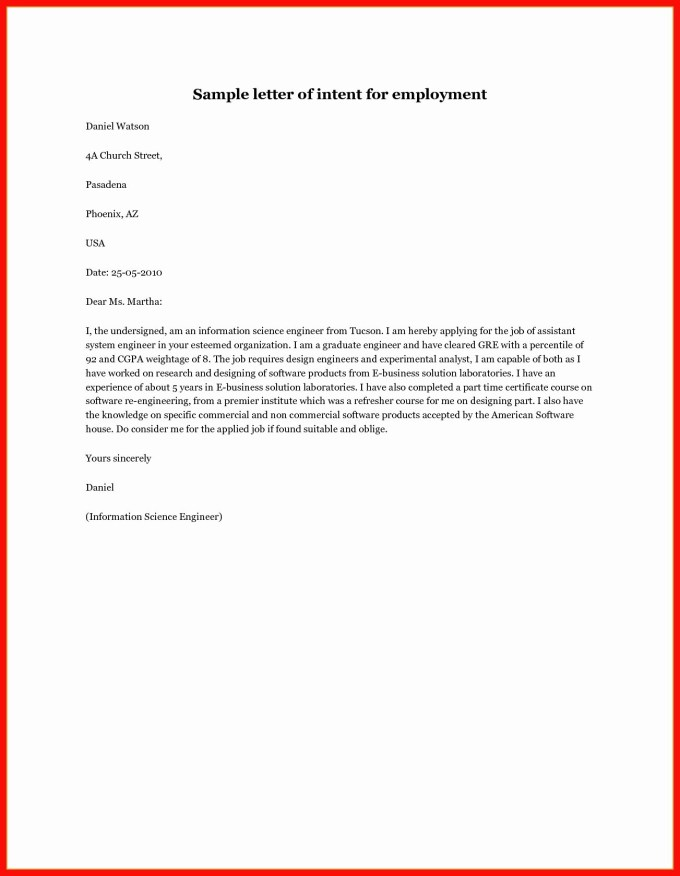 Letter Of Intent For Promotion Template Examples