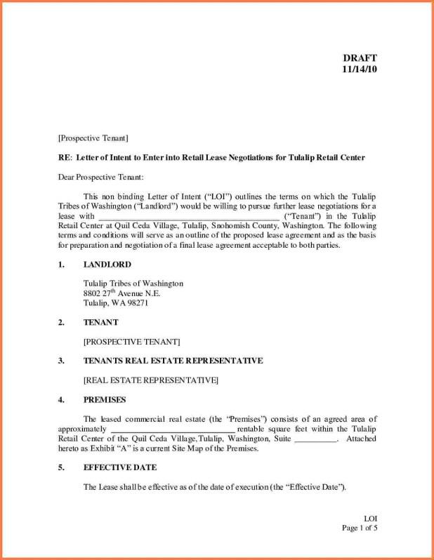 Sample Letter Of Intent For Lease Agreement Visorgede