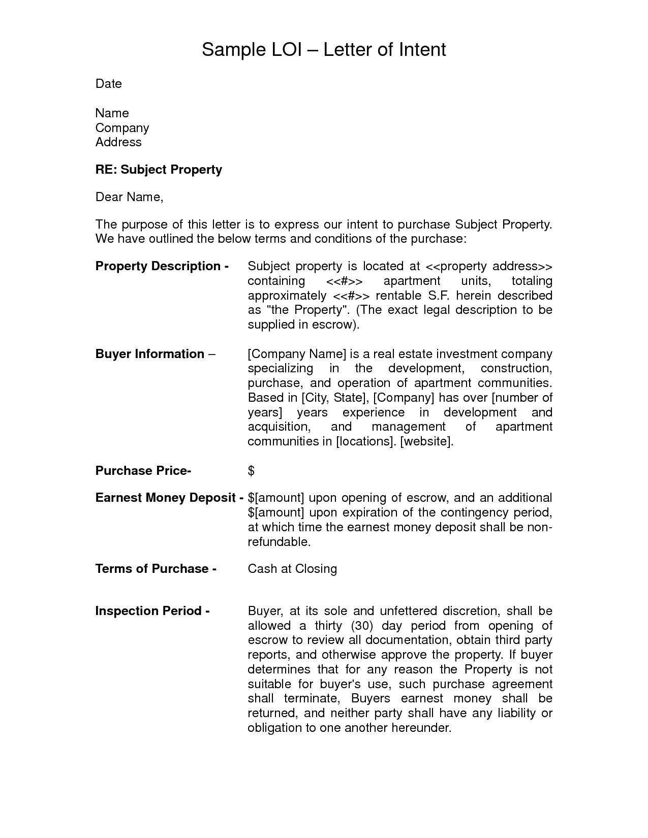 10+ sample acquisition agreement templates. Letter Of Intent For Real Estate Purchase Template Bicim