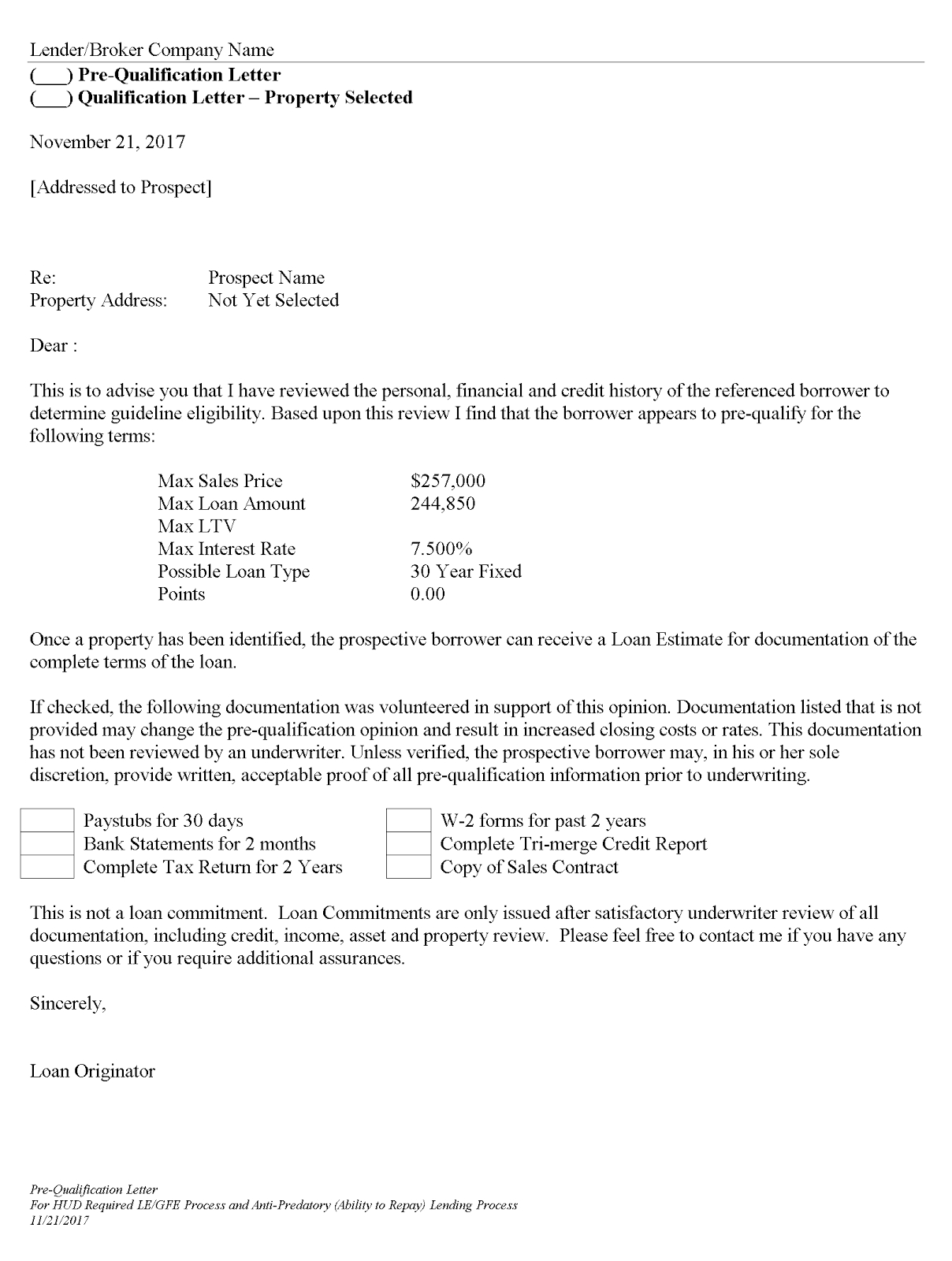 Mortgage Pre Qualification Letter Template Samples