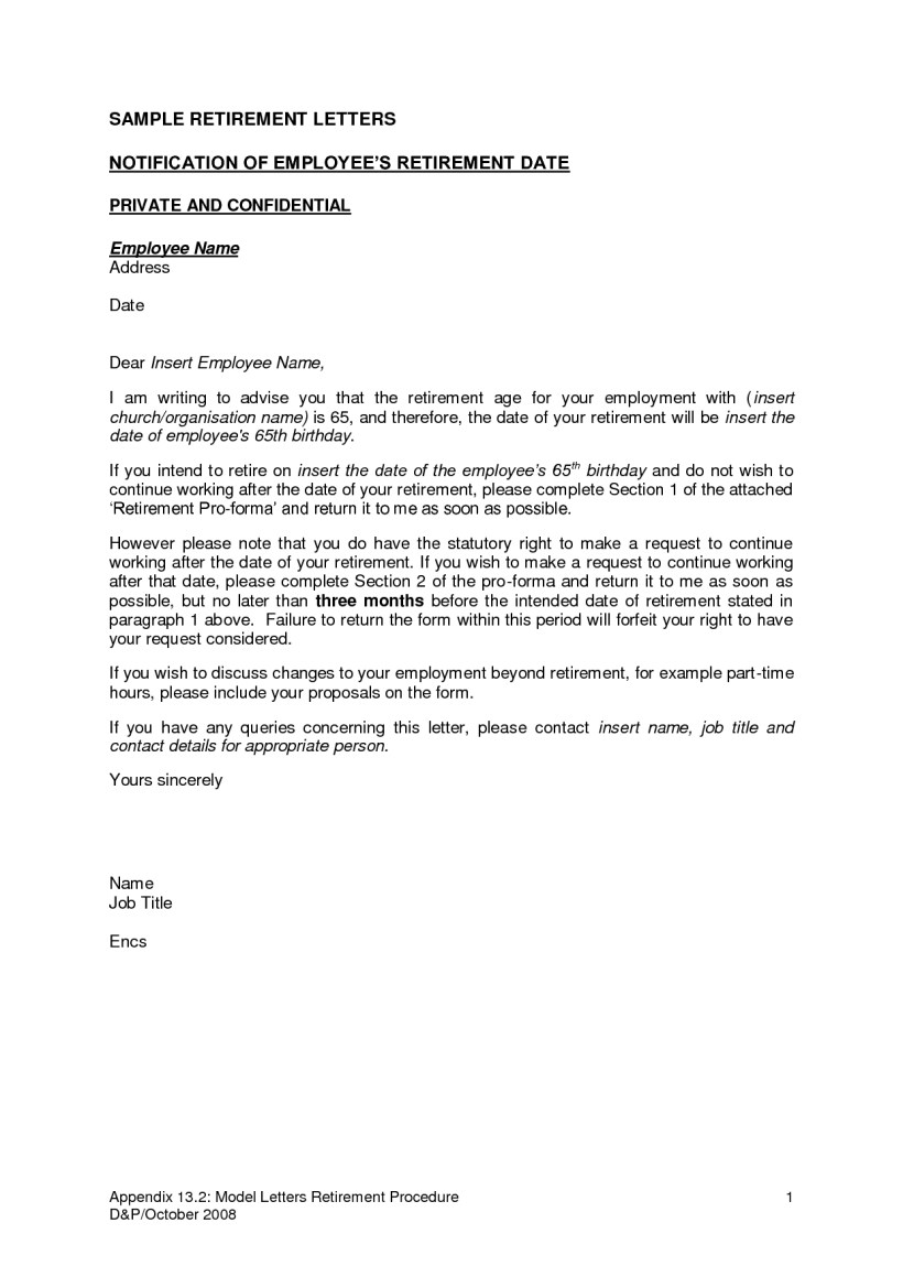 Retirement Letter To Employer Template Samples