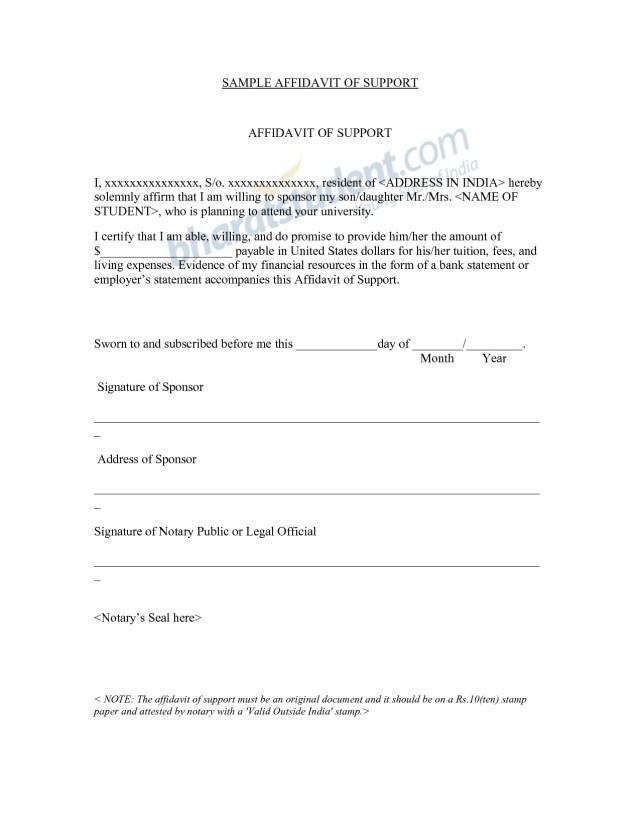 Affidavit Of Support Uk Visa